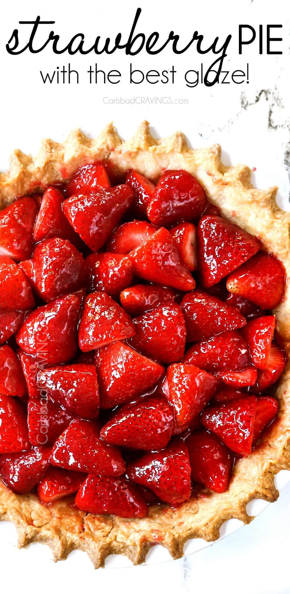 top view of strawberry pie recipe in a pie crust