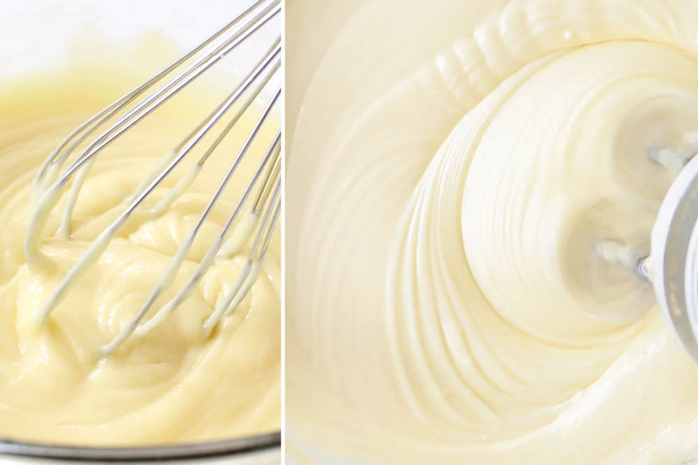 a collage showing how to make white chocolate raspberry cake by melting white chocolate and then mixing with cream cheese and powdered sugar