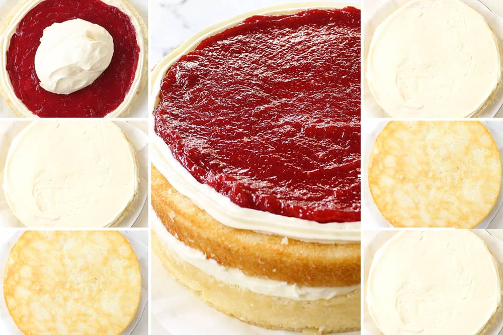 a collage showing how to make white chocolate cake by layering with raspberry filling, white chocolate frosting then cake and repeating