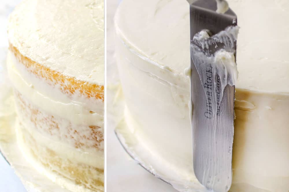 a collage showing how to make white chocolate raspberry cake by making crumb cake layer and then frosting the cake