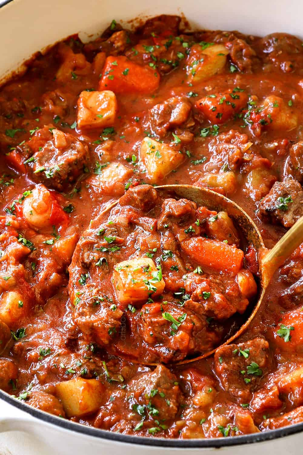 up close of goulash showing the rich, thick consistency
