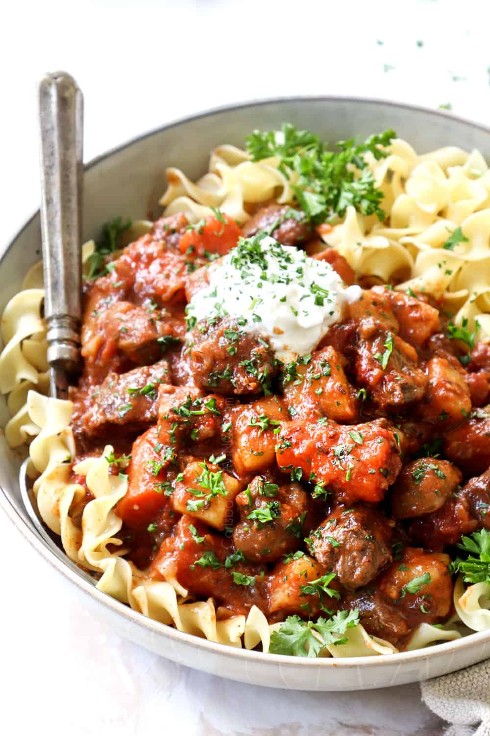 a bowl of Hungarian Goulash recipe with egg noodles