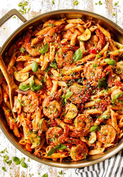 top view of shrimp pasta recipe garnished with parsley