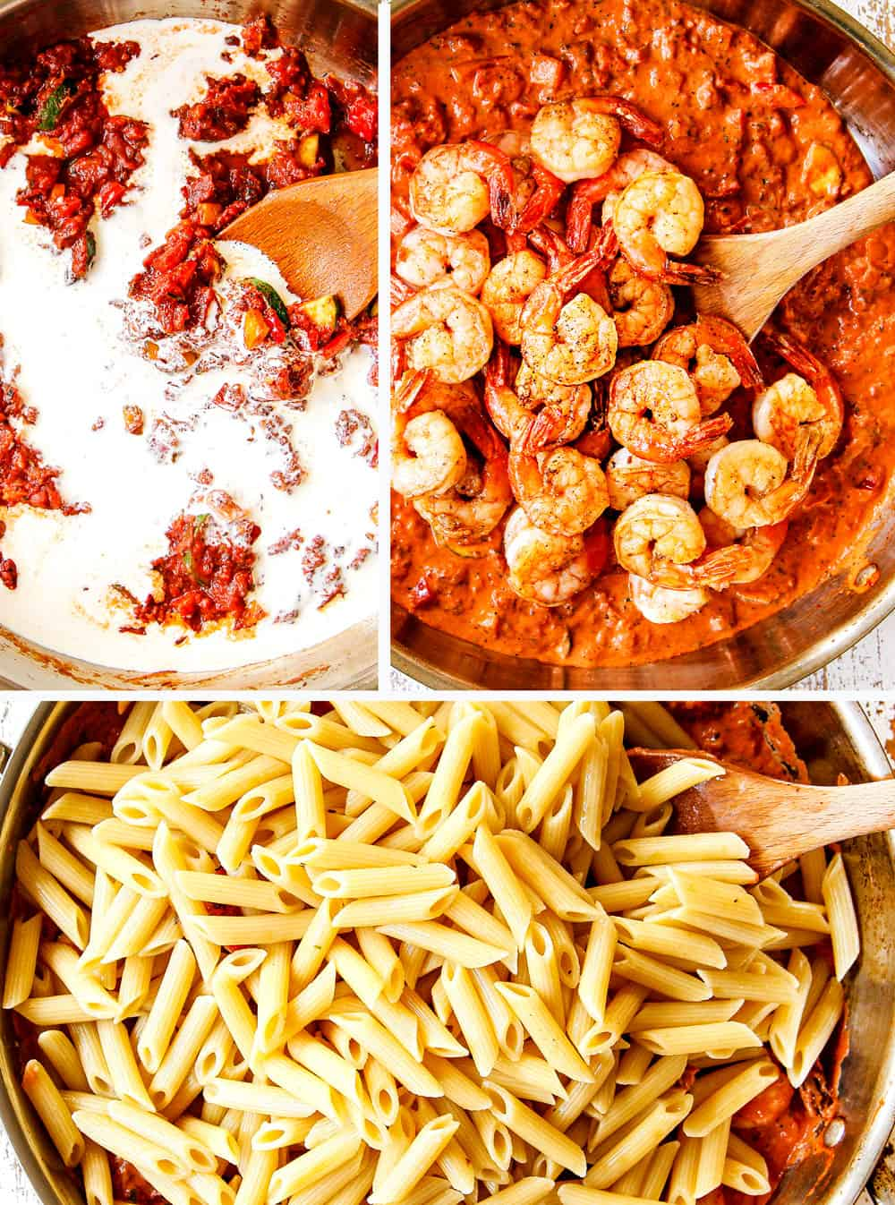 a collage showing how to make shrimp pasta by adding heavy cream, shrimp and pasta to the skillet