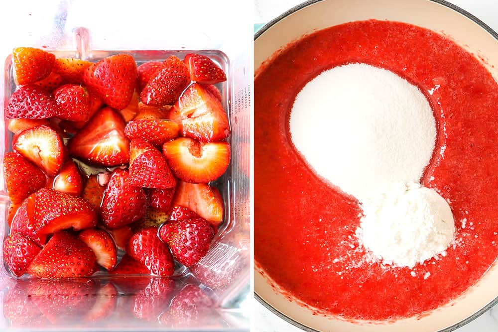 a collage showing how to make strawberry pie recipe by making filling by pureeing strawberries in a blender and adding to a saucepan with sugar, water and cornstarch