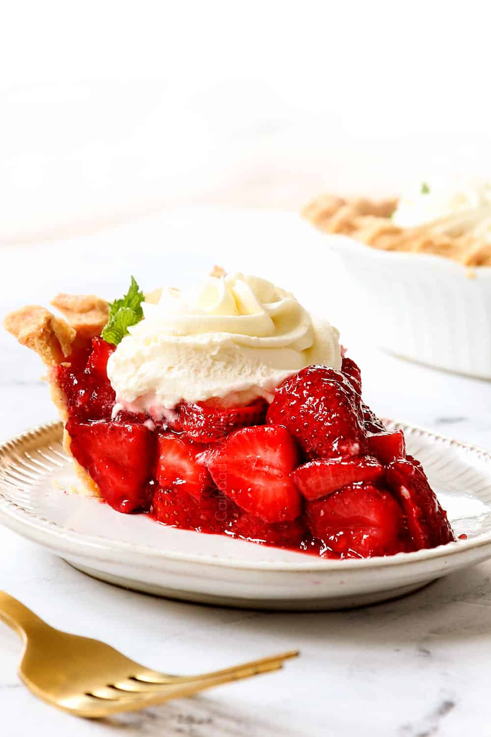 a slice of strawberry pie recipe on a plate