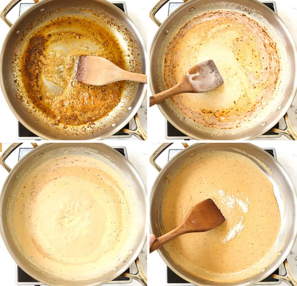 showing how to make chicken alfredo with Cajun blackened chicken by: 1) sautéing the garlic in a stainless steel skillet, 2) adding the heavy cream and chicken, 3), simmering the sauce to thicken, 4) adding the Parmesan