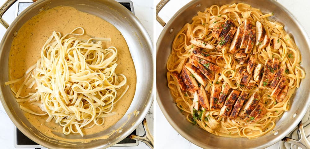 a collage showing how to make chicken Alfredo by adding fettuccine and tossing with the Alfredo sauce and topping with sliced blackened chicken
