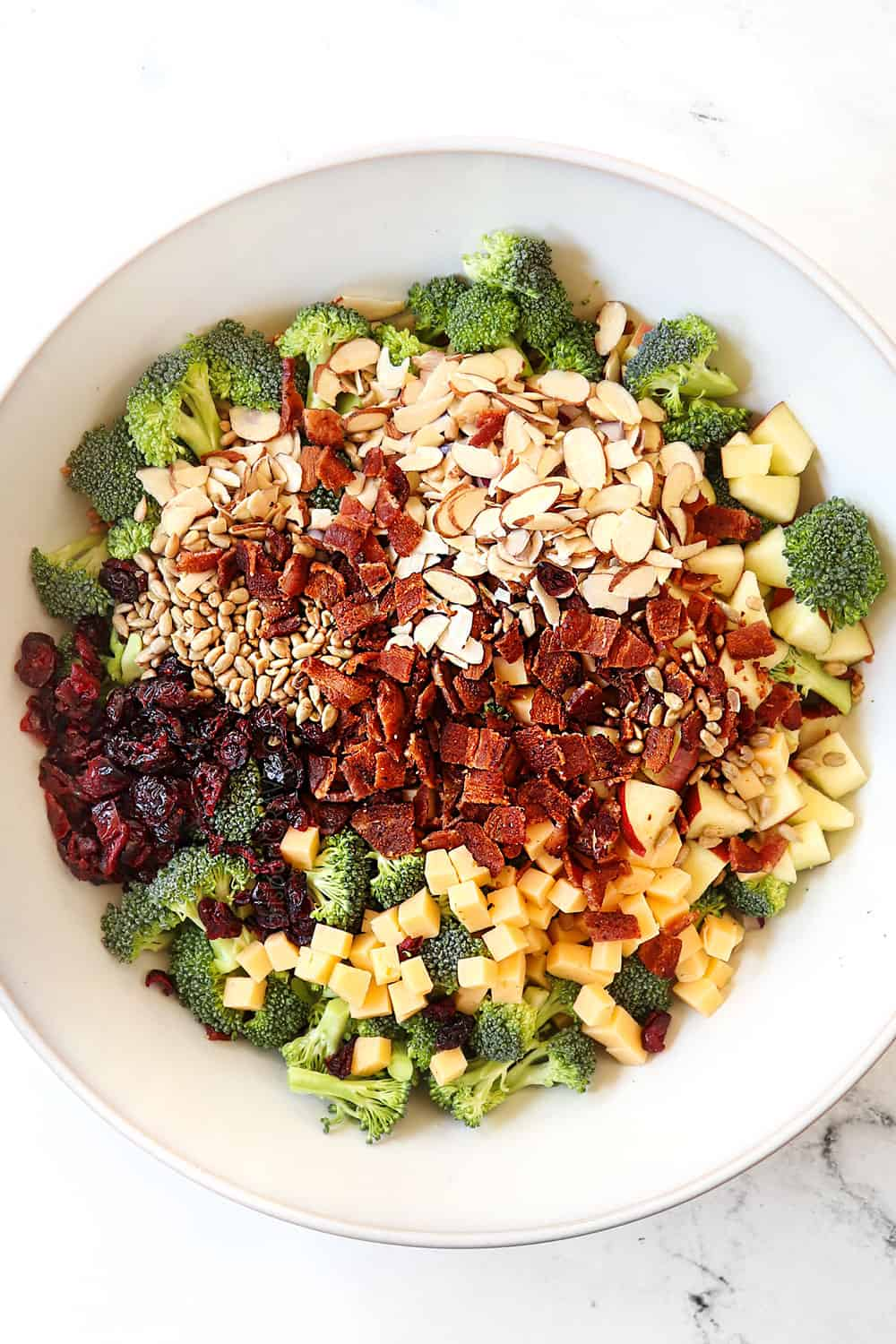 top view showing how to make easy broccoli salad by adding broccoli, bacon cheese, apples, nuts, sunflower seeds and craisins to a white bowl
