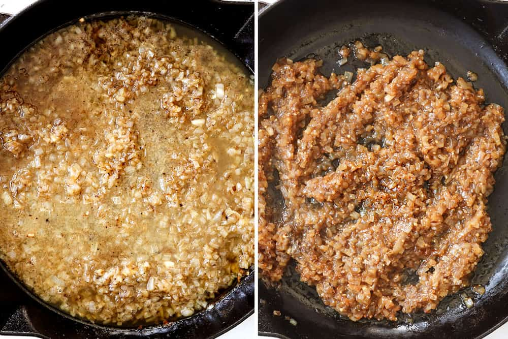 a collage showing how to make warm German potato salad recipe by sautéing onions, then simmering with apple cider vinegar, mustard, and chicken broth until reduced