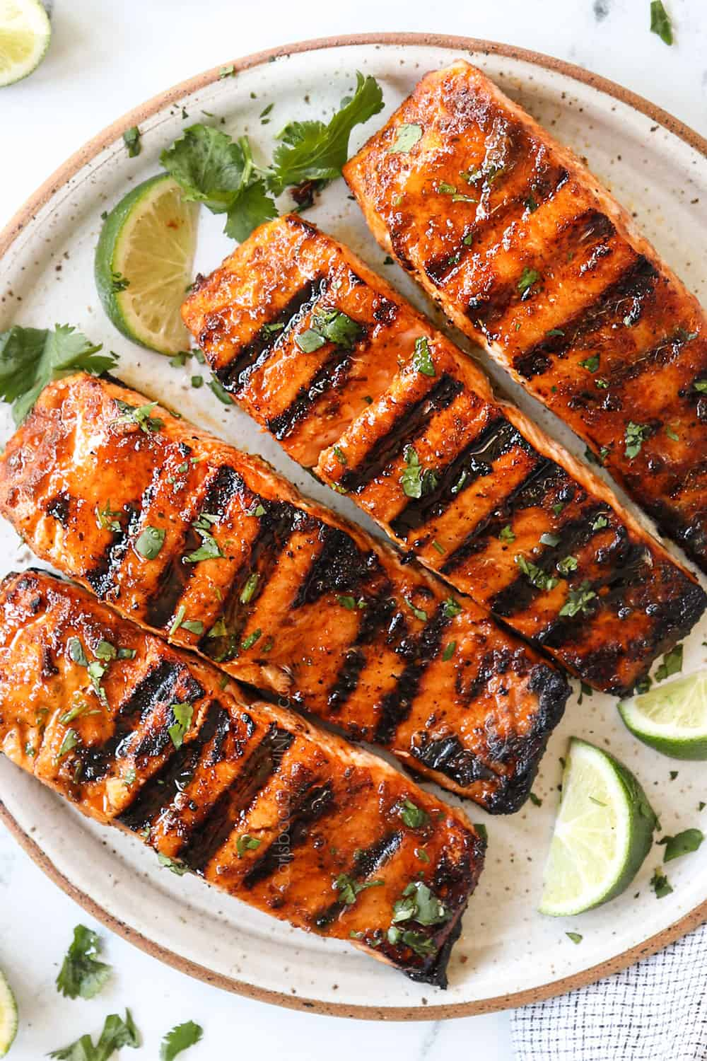 top view of grilled salmon on a plate