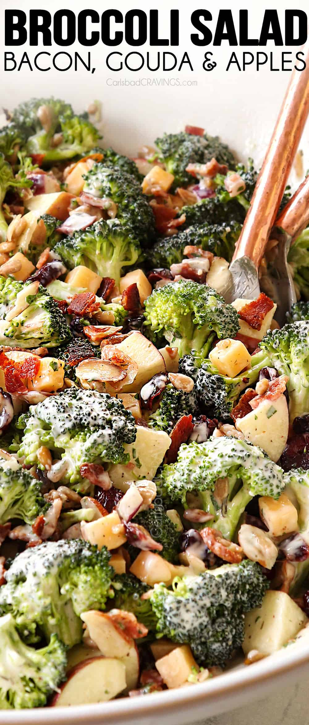 up close of scooping up broccoli baconn salad