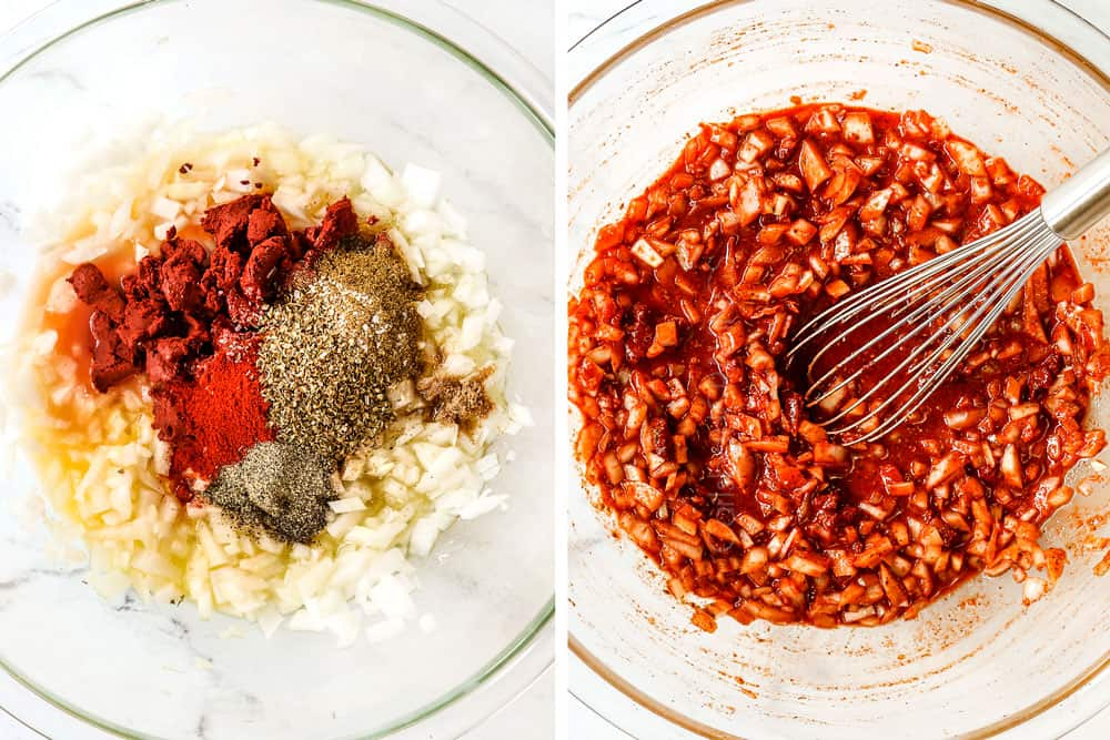 a collage showing how to make pollo asado recipe by making the marinade by adding lime juice, orange juice, onions, garlic and spices to a glass bowl then mixing together