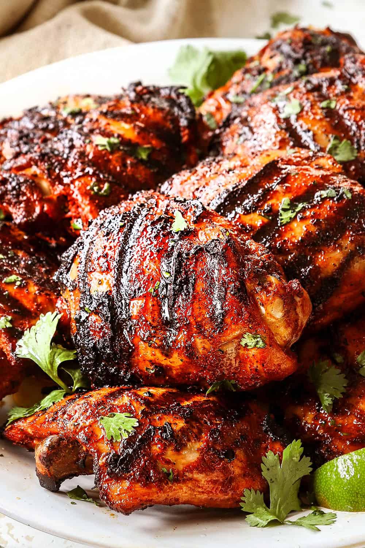 up close of pollo asado recipe showing how juicy it is