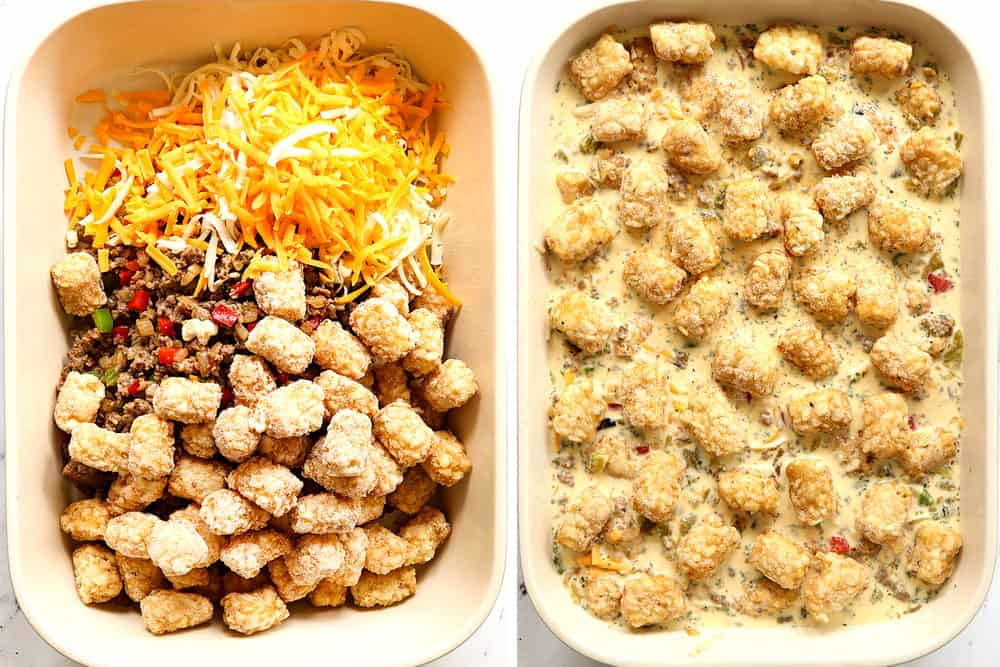 a collage showing how to make tater tot breakfast casserole by adding tater tots, sausage and cheese to a 9x13 baking dish, covering with egg mixture then topping with tater tots