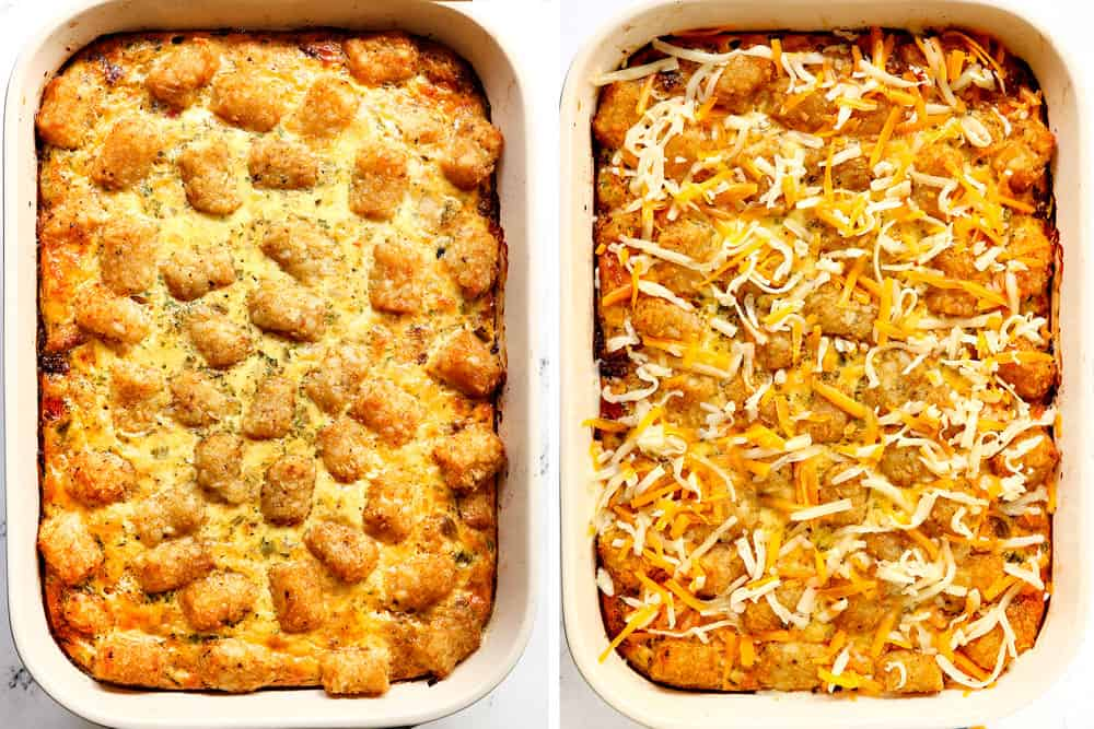 a collage showing how to make tater tot breakfast casserole by baking until tater tots are golden then adding cheese and baking until melted