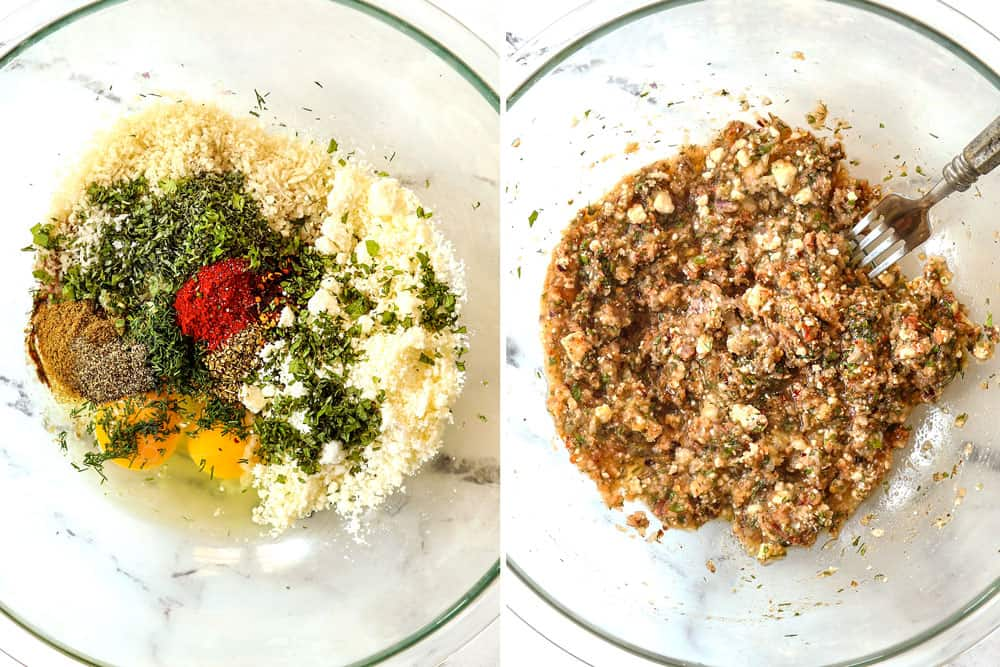 a collage showing how to make Greek lamb burger recipe by mixing onions, garlic, egg, breadcrumbs, lemon, dill, mint, oregano together in a glass bowl