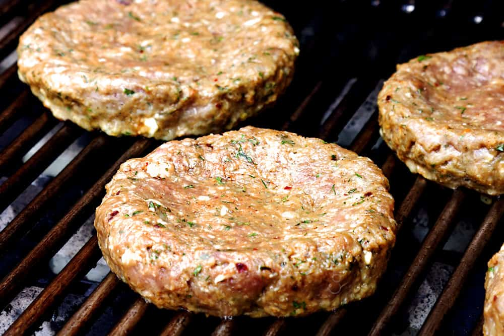 showing how to make lamb burger recipe Greek style by grilling the lamb burgers