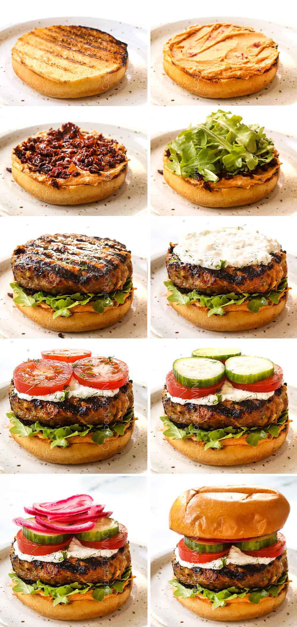 a collage showing how to make biftekia (Greek Burgers) by layering with hummus, arugula, sun-dried tomatoes, lamb burger, tzatziki, tomatoes, cucumber and onions
