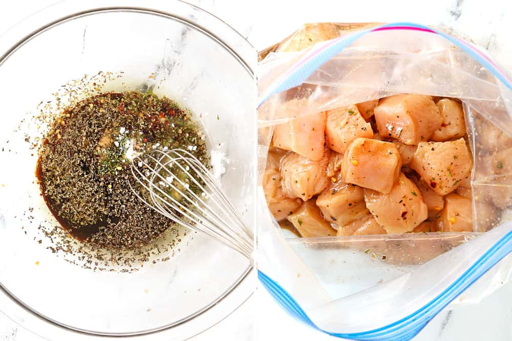 a collage showing how to make bruschetta chicken pasta by whisking the sauce ingredients together in a bowl then adding the chicken to marinate