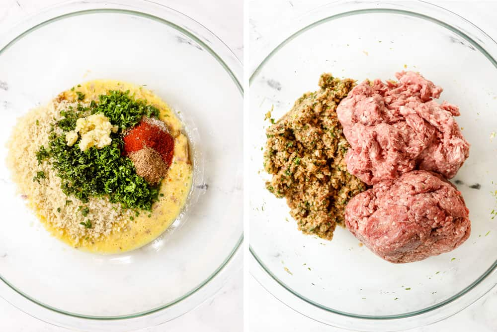 a collage showing how to make Greek Meatball recipe (Keftedes) by adding  ground lamb, ground beef, eggs, breadcrumbs, lemon juice, garlic, onion, basil, dill, oregano, mint to a glass bowl