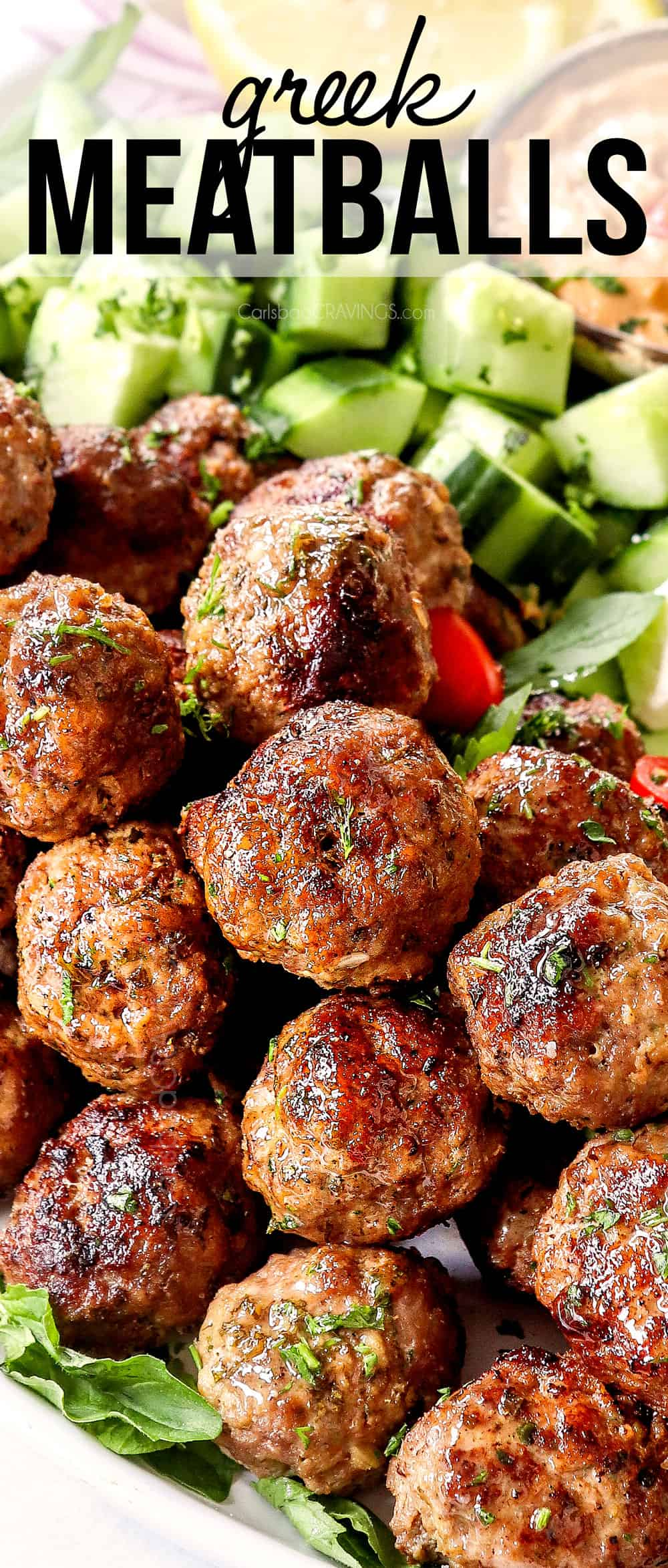 up close of Greek Lamb Meatballs showing how juicy they are