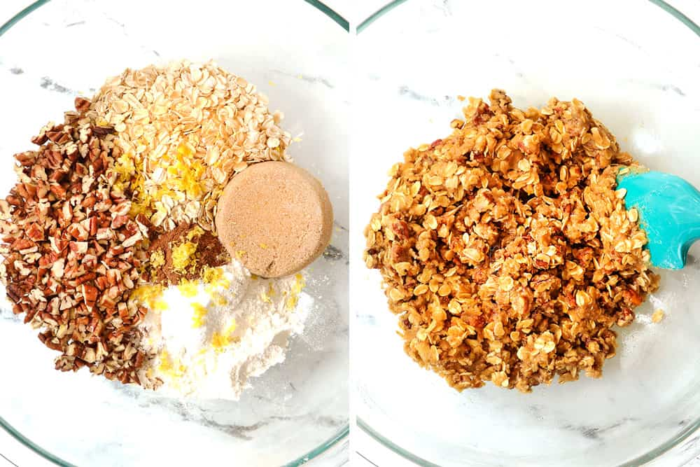 a collage showing how to make strawberry crisp (crumble) topping by adding flour, oats, sugar, pecans, and butter to a bowl then mixing all the ingredients together