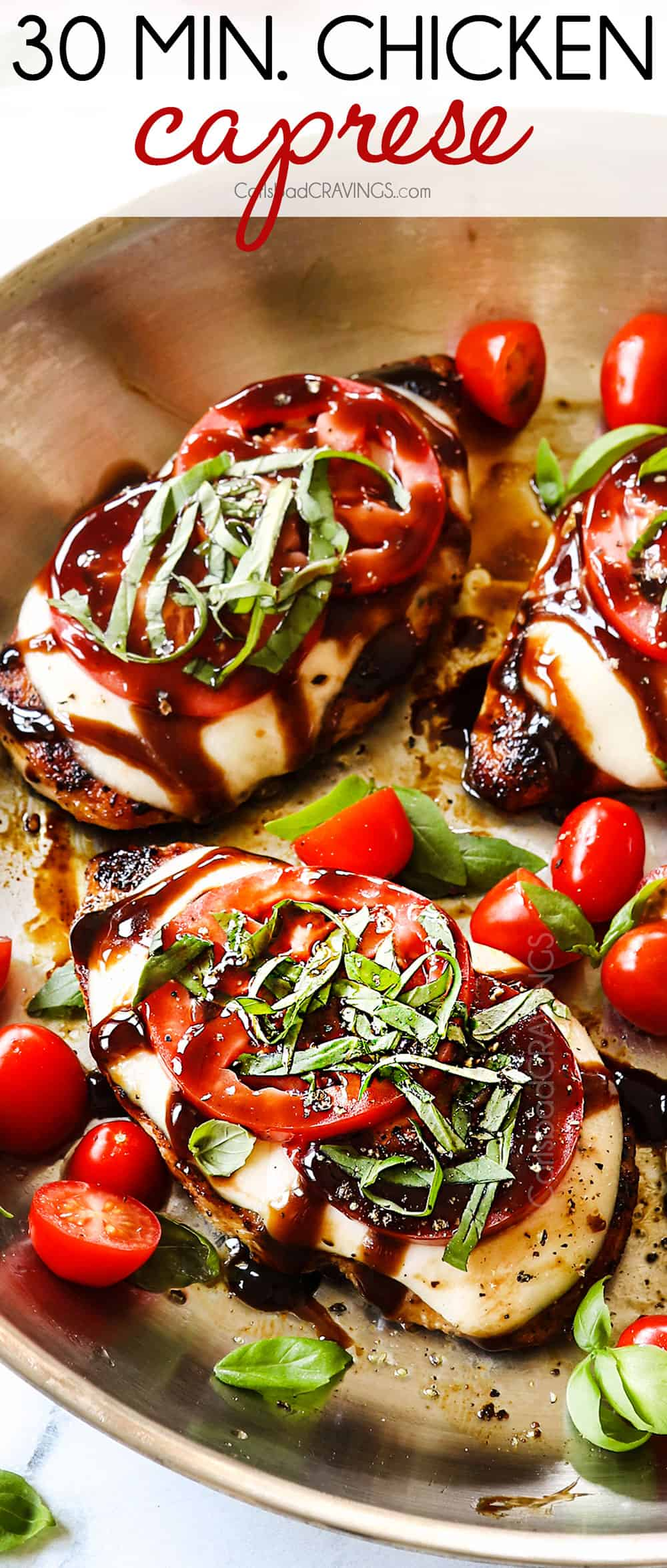 showing how to make chicken caprese by adding basil to chicken in the skillet