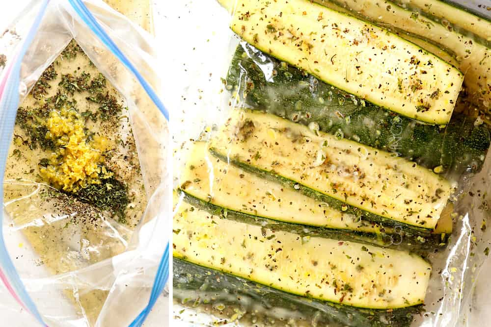 a collage showing how to grill zucchini by adding olive oil, lemon juice, lemon zest, garlic, basil and parsley to a freezer bag then adding zucchini slices to marinate