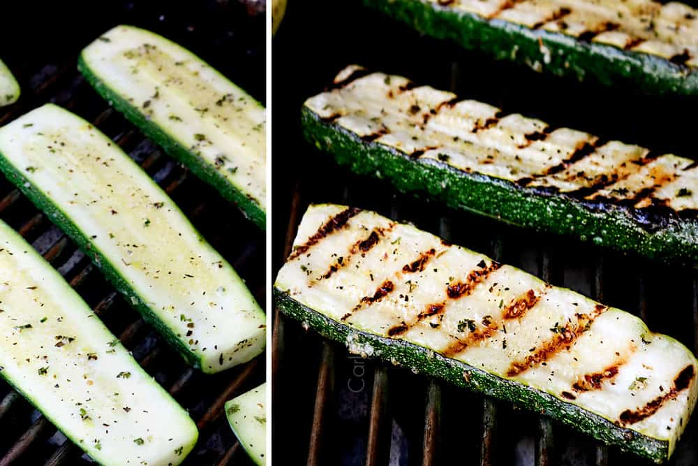a collage showing how to grill zucchini by adding zucchini to the grill then flipping over when there are grill marks