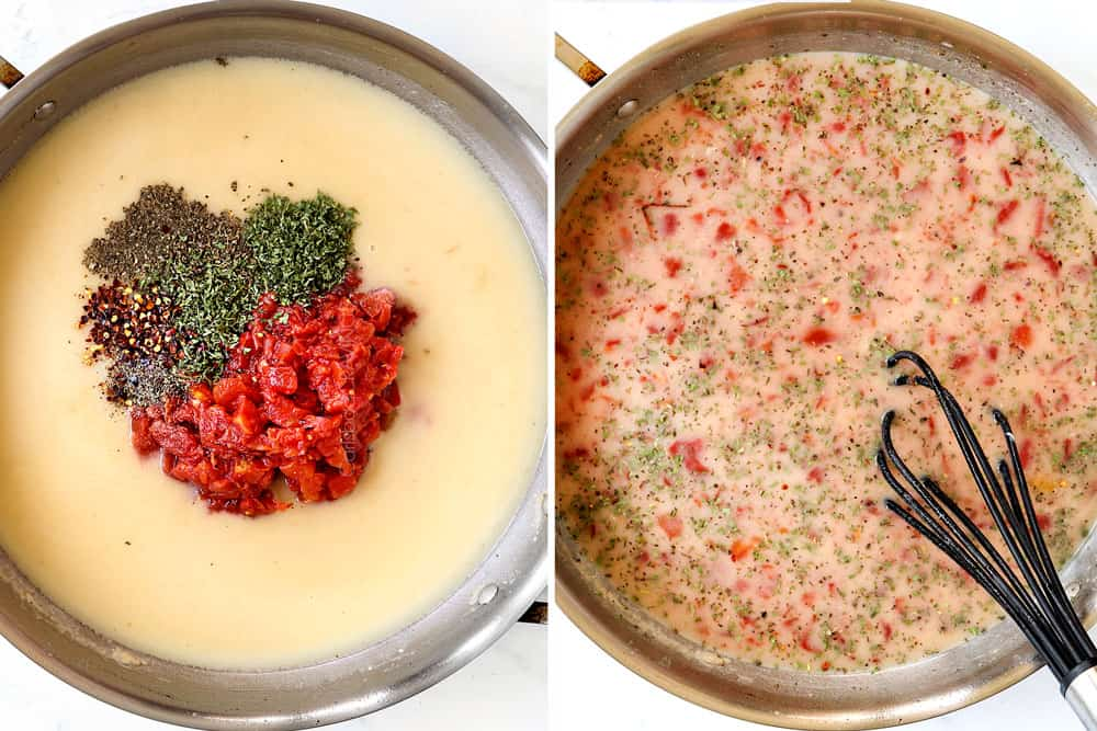 a collage showing how to make bacon pasta by adding diced tomatoes, chicken broth, Italian seasonings and heavy cream to a skillet and bringing to a simmer