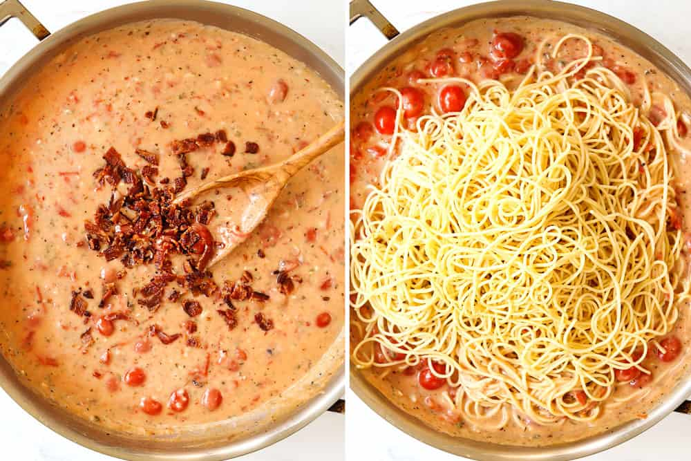 a collage showing how to make bacon pasta by adding bacon to the sauce, then stirring in the pasta