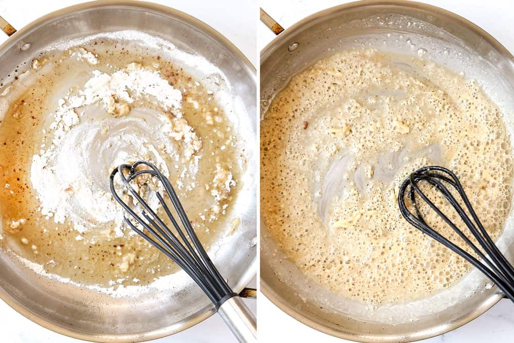 a collage showing how to make bacon pasta by whisking flour with bacon grease then sautéing the garlic