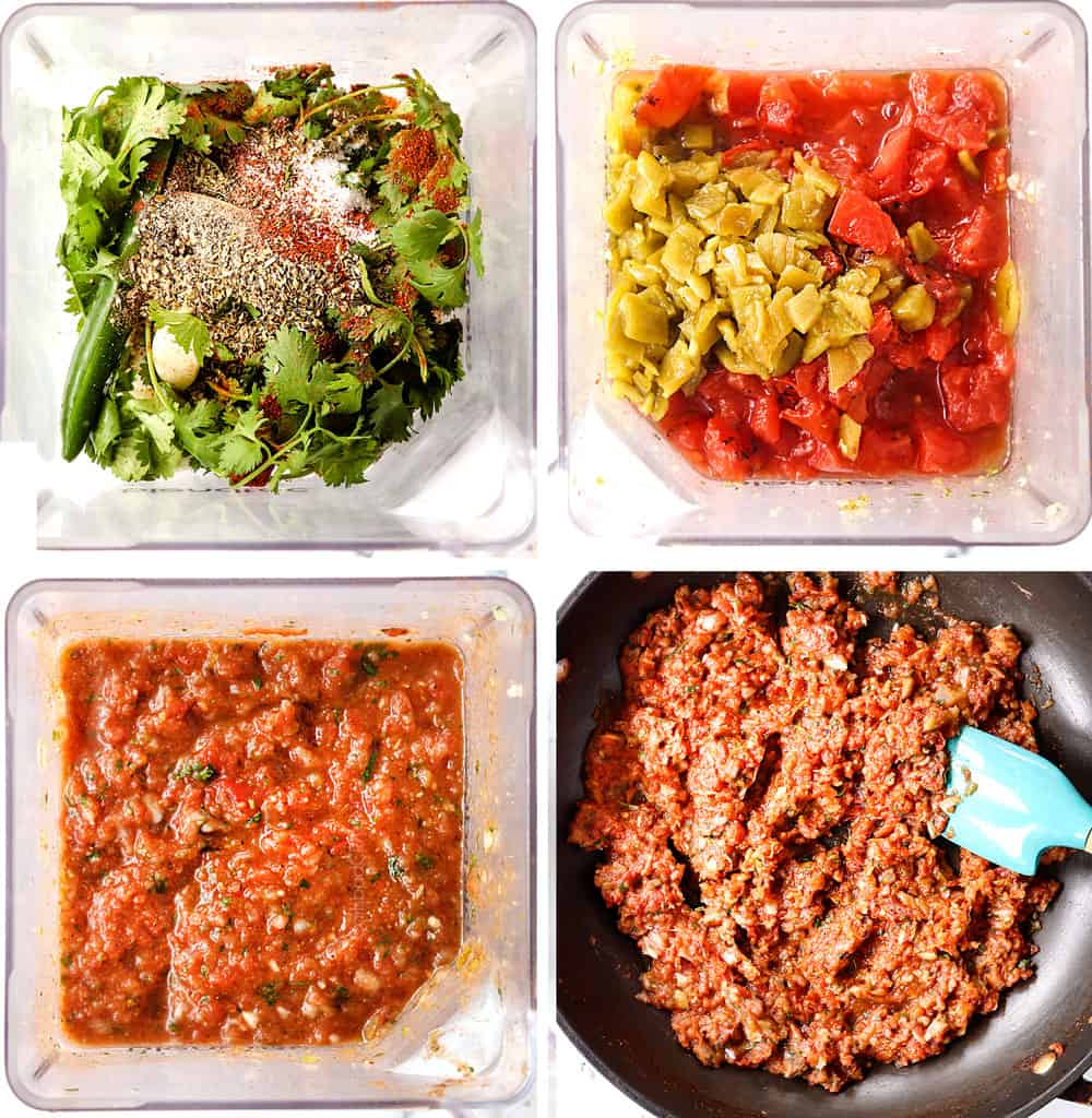 a collage showing how to make huevos rancheros by making huevos rancheros sauce by adding ingredients to a blender, blending, then simmering the salsa in a skillet until reduced and warm