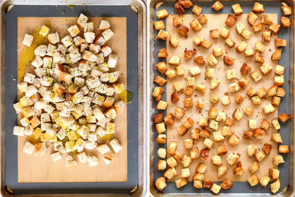 showing how to make Caesar Salad by adding cubed bread to a baking sheet and tossing with olive oil, garlic, basil and oregano