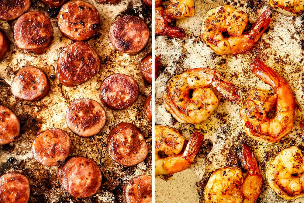 showing how to make Cajun shrimp by searing shrimp in a skillet
