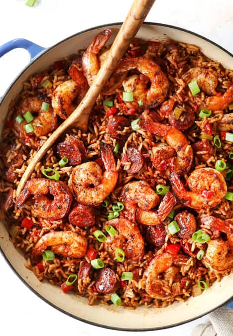 top view of Cajun Shrimp with rice in a skillet