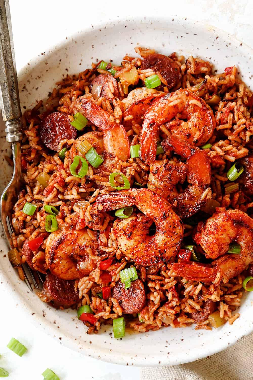 a bowl of Cajun shrimp and rice