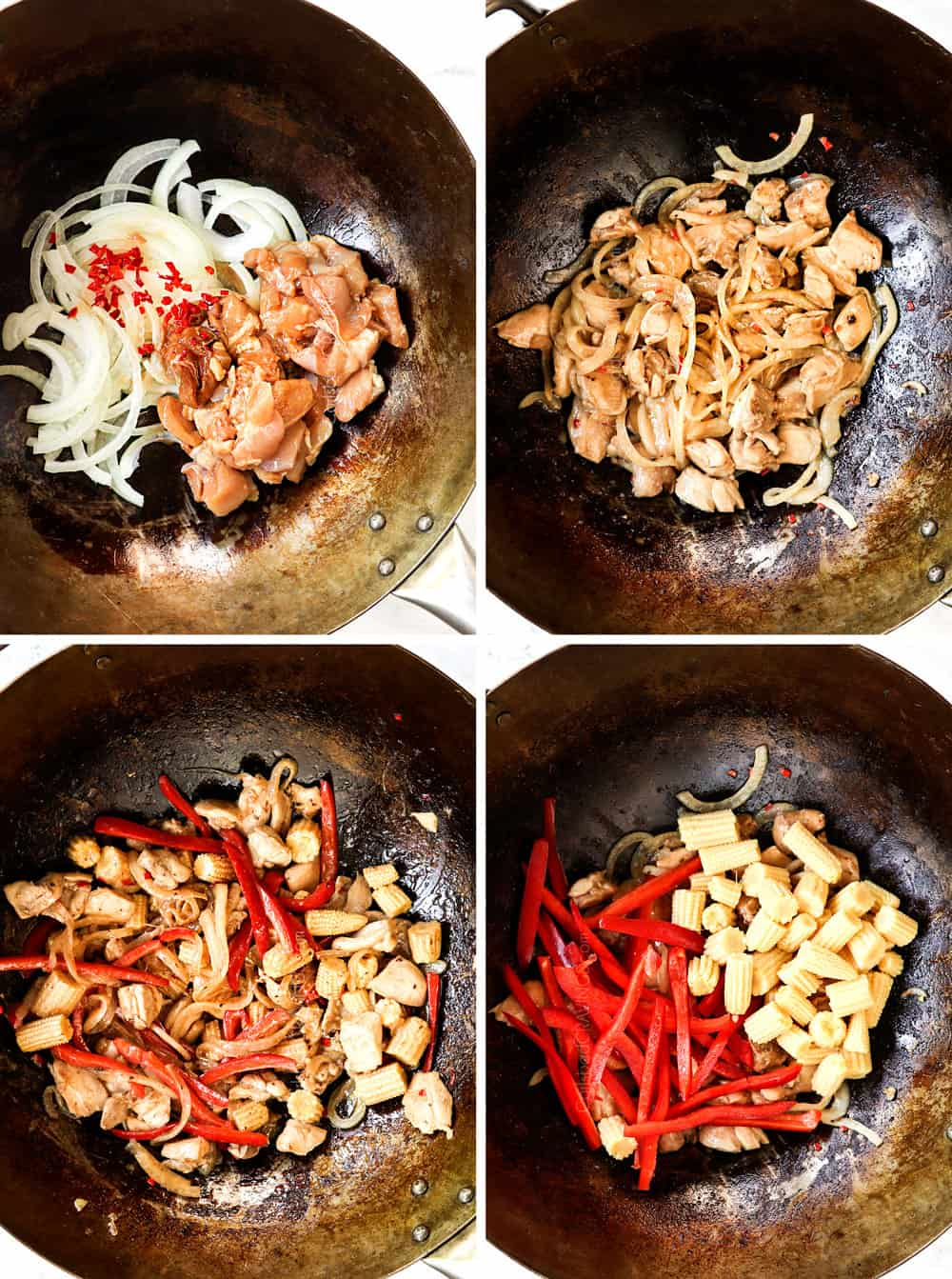 a collage showing how to make Thai Drunken Noodles (Pad Kee Mao) recipe by adding chicken onions and Thai chilies to a wok and stir frying, then adding bell peppers and corn to the wok and stir frying