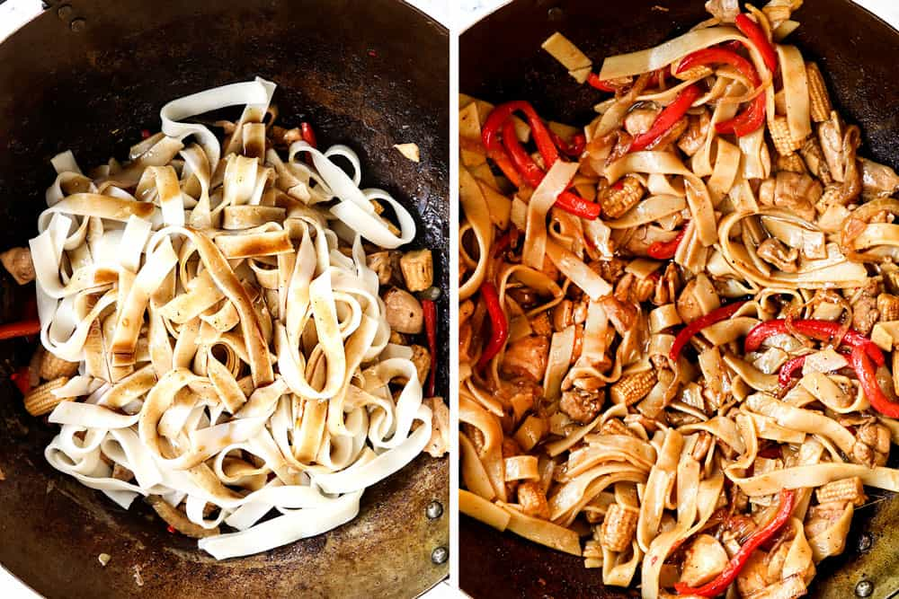 a collage showing how to make Thai Drunken Noodles (Pad Kee Mao) recipe by adding wide noodles and the sauce and caramelizing in the pan