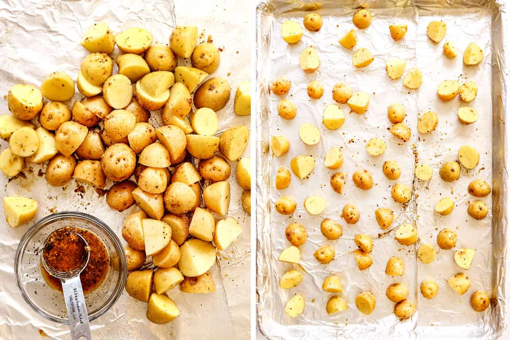 showing how to make lemon garlic chicken recipe by adding potatoes to a pan and tossing with the marinade to bake
