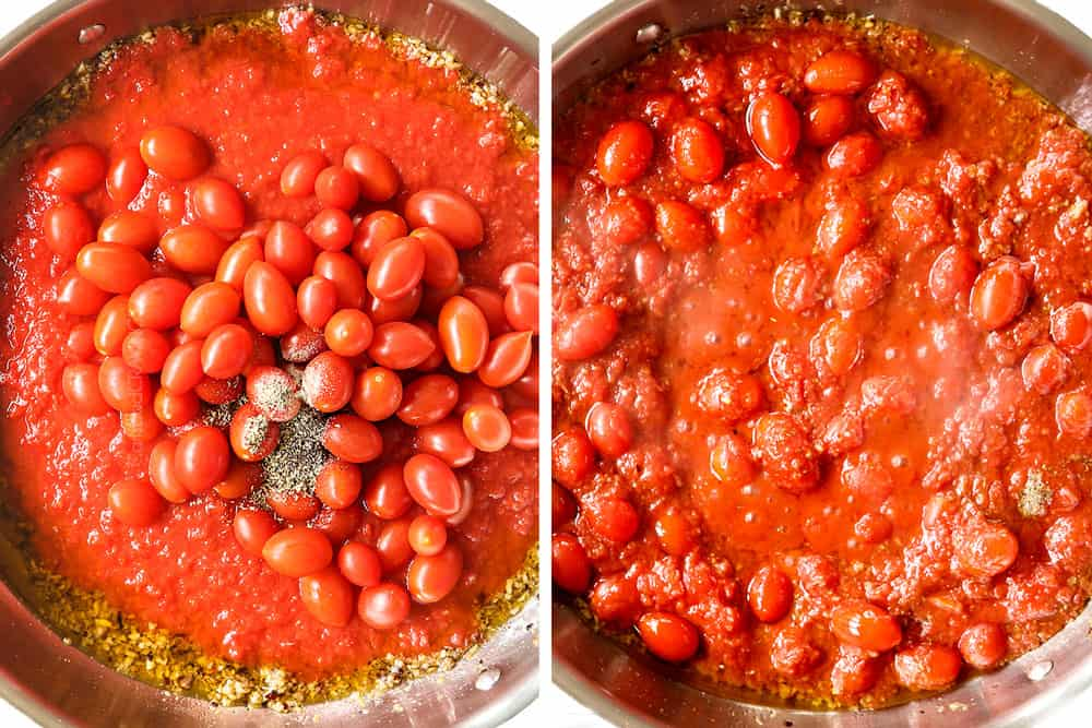 a collage showing how to make Pasta Puttanesca recipe by stirring in crushed tomatoes, oregano and pepper to the anchovies