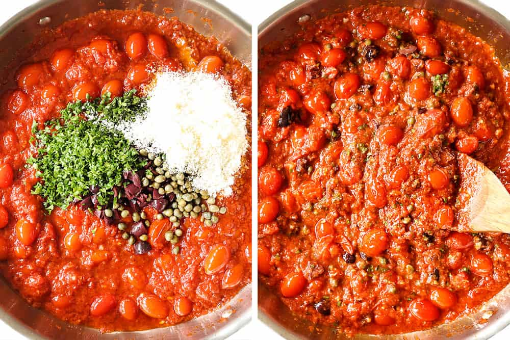 a collage showing how to make Pasta Puttanesca by adding chopped olives, capers and fresh parsley to the sauce and simmering