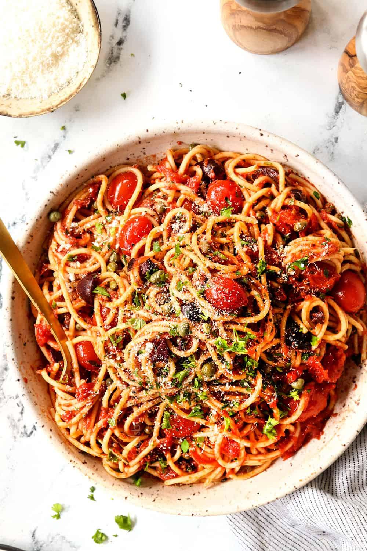 top view of a bowl of spaghetti alla Puttanesca