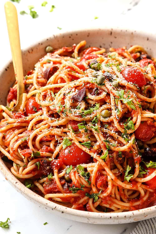 a bowl of spaghetti alla Puttanesca