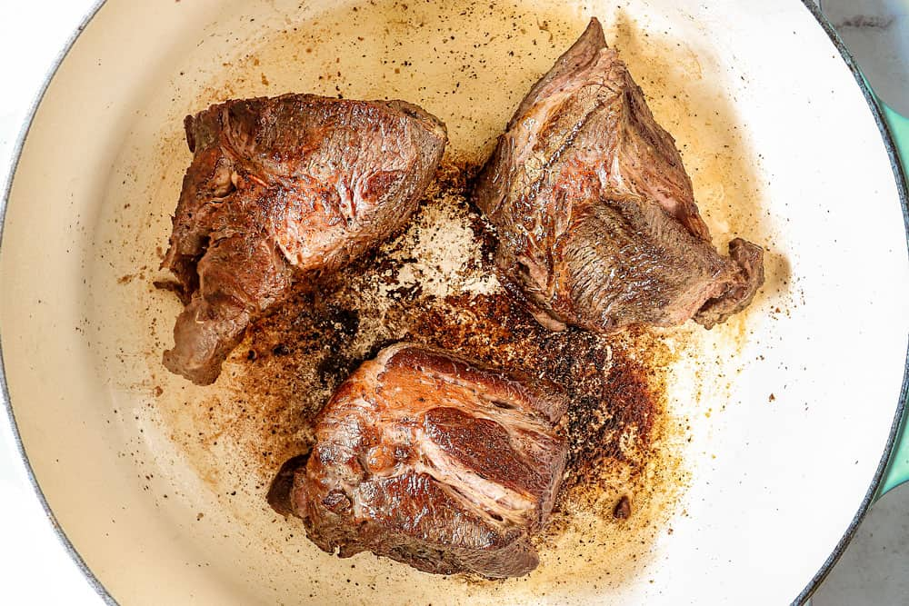 showing how to make birra tacos by searing beef until deeply golden