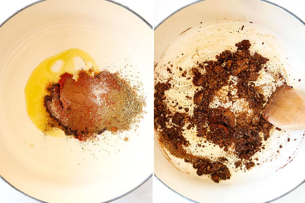 a collage showing how to make Cincinnati Chili recipe by adding tomato paste, olive oil and spices to a Dutch oven and sautéing