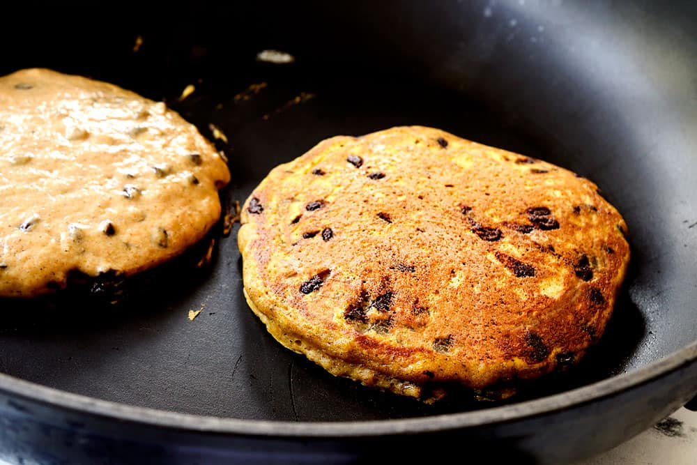 showing how to make pumpkin pancake recipe by adding batter to a nonstick skillet and cooking pancakes