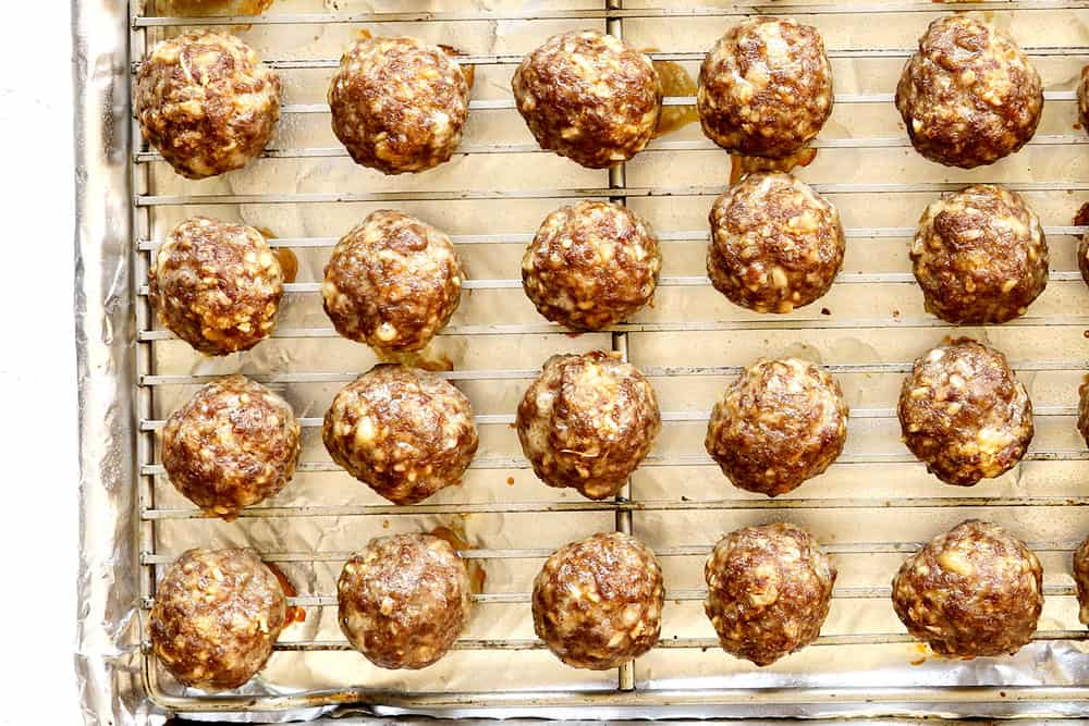 showing how to make teriyaki meatball recipe by baking meatballs on a baking sheet until browned