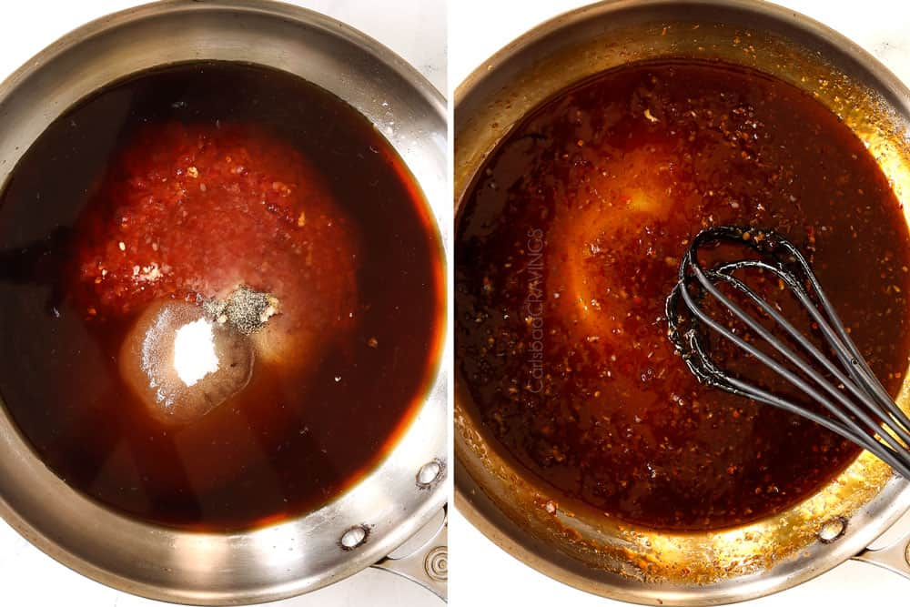 a collage showing how to make teriyaki meatball recipe by adding teriyaki sauce to a large skillet and simmering until thickened